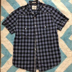 EXPRESS Men's Fitted Blue Plaid Button Up Shirt